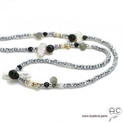 Sautoir perles baroques, méli-mélo de pierres naturelles noir, gris et hématite argentée, création by Alicia