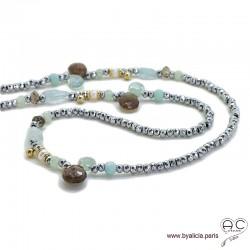 Sautoir en hématite et aigue marine, méli-mélo de pierres naturelles bleues et marrons, perles de culture, création by Alicia
