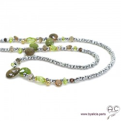 Sautoir peridot, andalusite et hématite argentée, méli-mélo de pierres naturelles vertes, création by Alicia