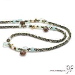 Sautoir en aigue marine, pyrite et méli-mélo de pierres naturelles bleues et marrons, perles, plaqué or, création by Alicia