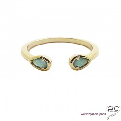 Bague fine, pierres bleues, anneau ouvert en plaqué or 3MIC, zirconium goutte saphir, empilable, femme