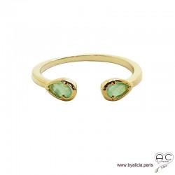 Bague fine, pierres vertes, anneau ouvert en plaqué or 3MIC, zirconium goutte vert clair, empilable, femme