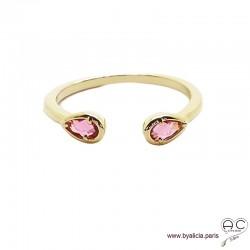 Bague fine, pierres rouges, anneau ouvert en plaqué or 3MIC, zirconium goutte rubis, empilable, femme