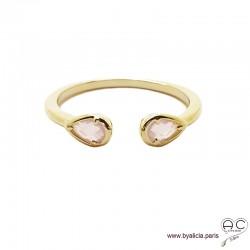Bague fine, pierres roses, anneau ouvert en plaqué or 3MIC, zirconium goutte rose, empilable, femme
