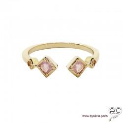 Bague anneau fin ouvert avec pierres roses, plaqué or 3MIC et zirconium rose, empilable, femme