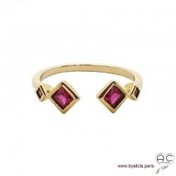 Bague anneau fin ouvert avec pierres rouges, plaqué or 3MIC et zirconium rubis, empilable, femme