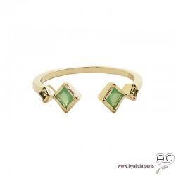 Bague anneau fin ouvert avec pierres vertes, plaqué or 3MIC et zirconium vert clair, empilable, femme