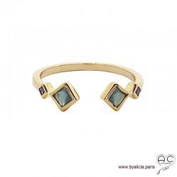 Bague anneau fin ouvert avec pierres bleues, plaqué or 3MIC et zirconium saphir, empilable, femme