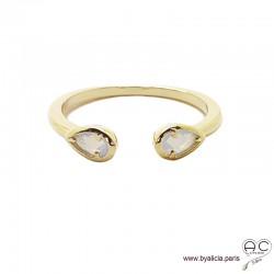 Bague fine, pierres blanches irisées, anneau ouvert en plaqué or 3MIC, zirconium goutte moon stone, empilable, femme