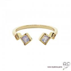 Bague anneau fin ouvert avec pierres blanches irisées, plaqué or 3MIC, zirconium moon stone, empilable, femme