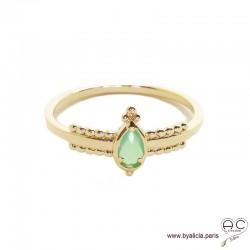 Bague fine sertie d'une pierre verte, goutte entourée de perles en plaqué or 3MIC, zirconium, empilable, femme