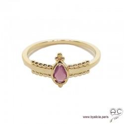 Bague fine sertie d'une pierre violette, goutte entourée de perles en plaqué or 3MIC, zirconium, empilable, femme