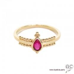 Bague fine sertie d'une pierre rouge, goutte entourée de perles en plaqué or 3MIC, zirconium, empilable, femme