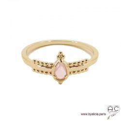 Bague fine sertie d'une pierre rose, goutte entourée de perles en plaqué or 3MIC, zirconium, empilable, femme