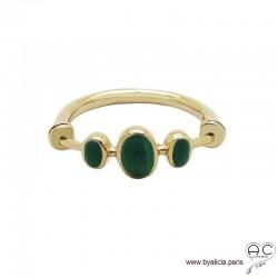 Bague malachites cabochon sur l'anneau fin en plaqué or 3MIC, pierre semi-précieuse verte, femme