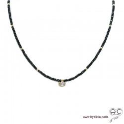 Collier LALY en spinelle noire et zirconium brillant, pierre naturelle et plaqué or, ras de cou, fin, création by Alicia