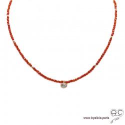 Collier LALY en cornaline et zirconium brillant, pierres naturelle orange et plaqué or, ras de cou, fin, création by Alicia