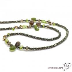 Sautoir peridot, andalusite et pyrite, méli-mélo de pierres naturelles vertes et marrons, création by Alicia