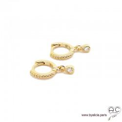 Petites créoles en plaqué or avec pampille goutte en zirconium brillant, boucles d'oreilles, tendance