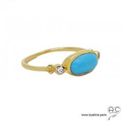 Bague turquoise reconstituée cabochon sur l'anneau fin en plaqué or 3MIC, pierre naturelle, femme