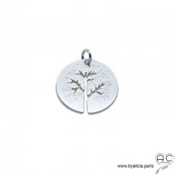 Pendentif arbre de vie en argent massif, grande médaille gravé et ajouré, femme