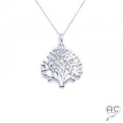 Pendentif arbre de vie ajouré en argent massif rhodié, collier femme