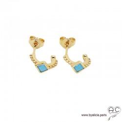 Petites créoles avec turquoise reconstituée en plaqué or 3MIC, boucles d'oreilles, pierre naturelle, tendance