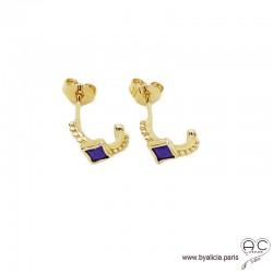 Petites créoles avec lapis lazuli en plaqué or 3MIC, boucles d'oreilles, pierre semi-précieuse, tendance