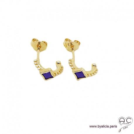 Petites créoles avec lapis lazuli en plaqué or 3MIC, boucles d'oreilles, tendance