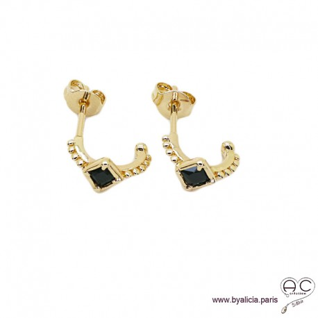 Petites créoles avec agate noire en plaqué or 3MIC, boucles d'oreilles, pierre semi-précieuse, tendance
