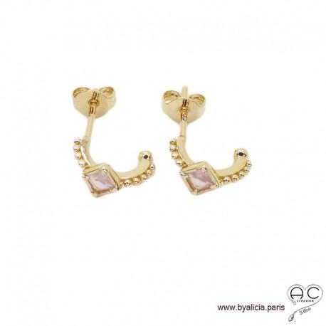 Petites créoles avec quartz rose en plaqué or 3MIC, boucles d'oreilles, pierre semi-précieuse, tendance