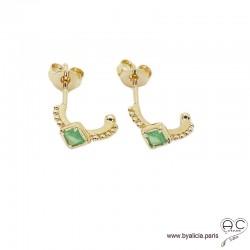 Petites créoles avec aventurine en plaqué or 3MIC, boucles d'oreilles, pierre semi-précieuse, tendance