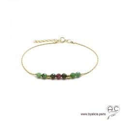 Bracelet fin avec rubis zoïsite sur une chaîne en plaqué or, pierre naturelle, création by Alicia