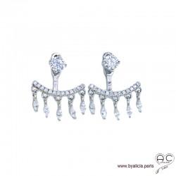 Boucles d'oreilles contours dessous lobes en argent massif avec pampilles en zirconiums brillants