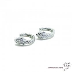 Petites créoles motif serpent en argent massif serti de zirconium brillant, tendance