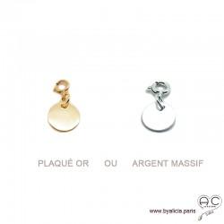 Breloque médaille en plaqué or ou argent massif pour les bracelets et les colliers en chaînes gros maillons, créations by Alicia