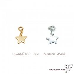 Breloque étoile en plaqué or ou argent massif pour les bracelets et les colliers en chaînes gros maillons, créations by Alicia