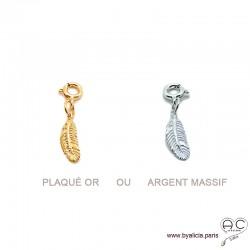 Breloque plume en plaqué or ou argent massif pour les bracelets et les colliers en chaînes gros maillons, créations by Alicia
