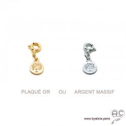 Breloque arbre de vie plaqué or ou argent massif pour les bracelets et colliers en chaînes gros maillons, créations by Alicia