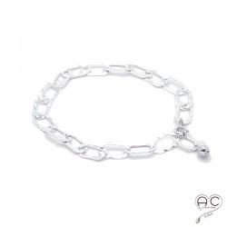 Bracelet chaîne gros maillons rectangulaires en argent 925 martelé, tendance, femme, création by Alicia
