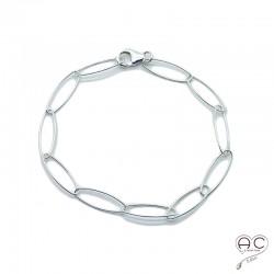 Bracelet chaîne grands, longs maillons ovales en argent 925 massif, tendance, femme, création by Alicia