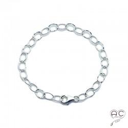 Bracelet chaîne grands maillons en argent 925 massif martelé et lisse, tendance, femme, création by Alicia