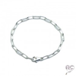 Bracelet chaîne grands maillons ovales en argent 925 massif, tendance, femme, création by Alicia