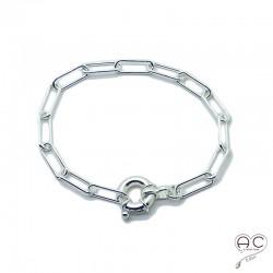 Bracelet chaîne grandes maillons rectangulaires avec grand fermoir rond, argent massif, tendance, création by Alicia