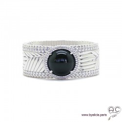 Bague avec agate noire en cabochon sertie sur un anneau en argent massif ciselé, pierre naturelle, femme