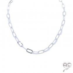 Collier, sautoir,chaîne avec grands maillons rectangulaires martelé en argent massif, tendance, femme, création by Alicia