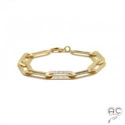 Bracelet chaîne avec grands maillons rectangulaires ciselés en plaqué or 3MIC, tendance, femme