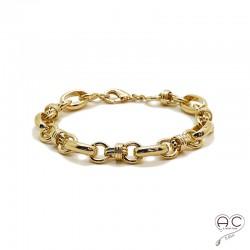 Bracelet chaîne avec grands maillons ovals et ronds en plaqué or 3MIC, tendance, femme