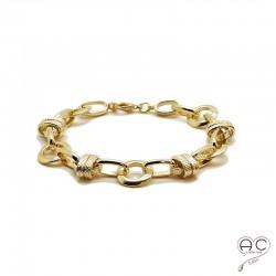 Bracelet chaîne avec grands maillons ronds et ovals en plaqué or 3MIC, tendance, femme