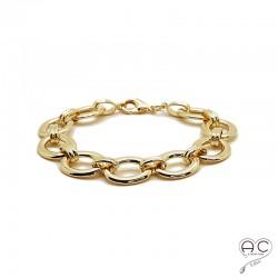 Bracelet chaîne avec grands maillons ovals en plaqué or 3MIC, tendance, femme